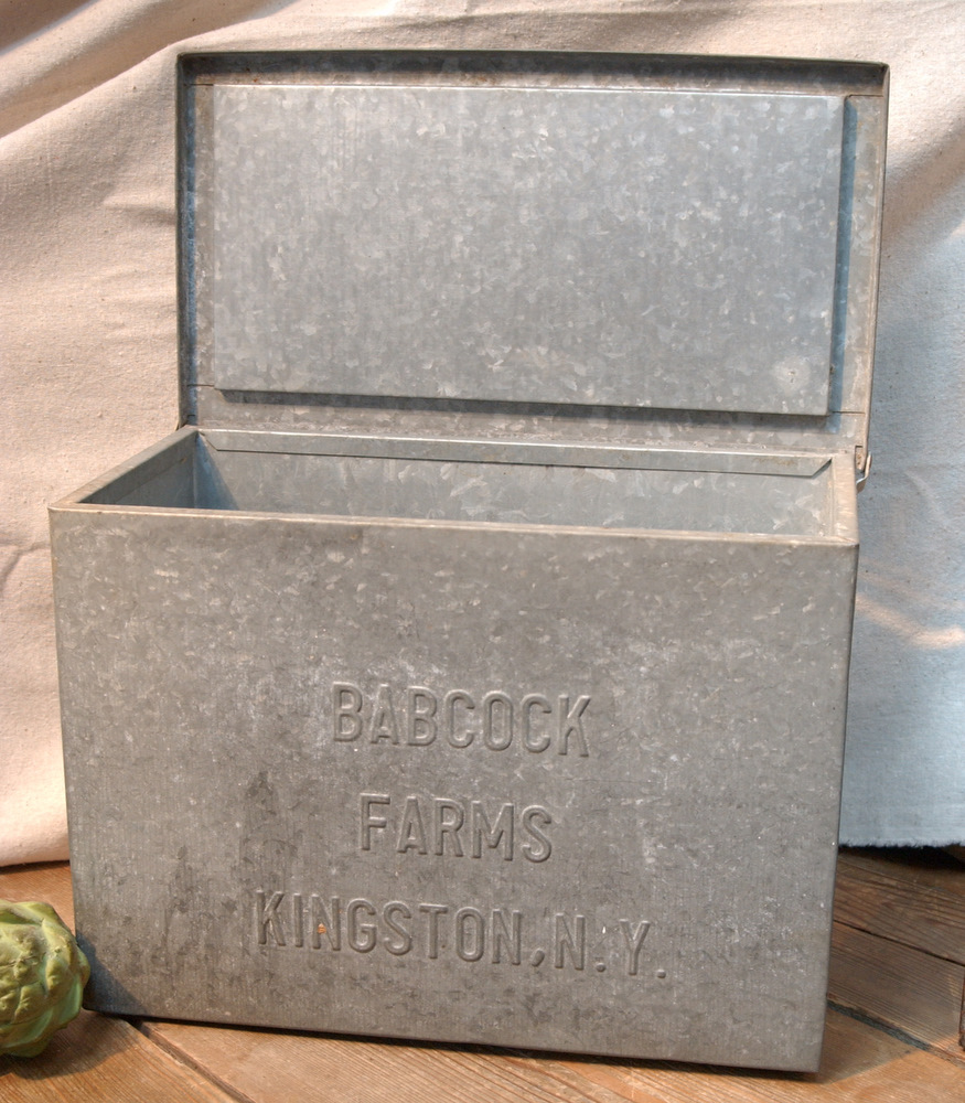 This handy and absolutely vintage shabby farmhouse chic metal storage box was once used to store milk and other perishable goods. It is insulated and would ... & Vintage Industrial Salvage Galvanized Metal Storage Advertising ... Aboutintivar.Com