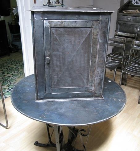Vintage Eames Era Industrial French Wall Pie Safe Cabinet Metal Storage Box  SOLD   Wiltsie Bridge Country Store