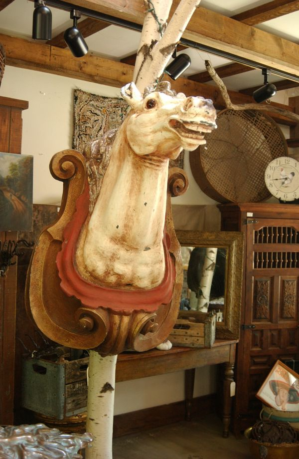 new orleans architectural salvage horse head carousel statue large