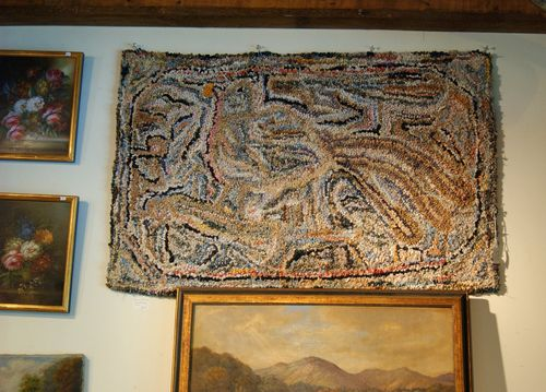 This Beautiful Primitive Folk Art Rug Was Created Around 1910  1920, All  Hand Designed, If You Study It Closely You Will See A Bird Inside The Rug.