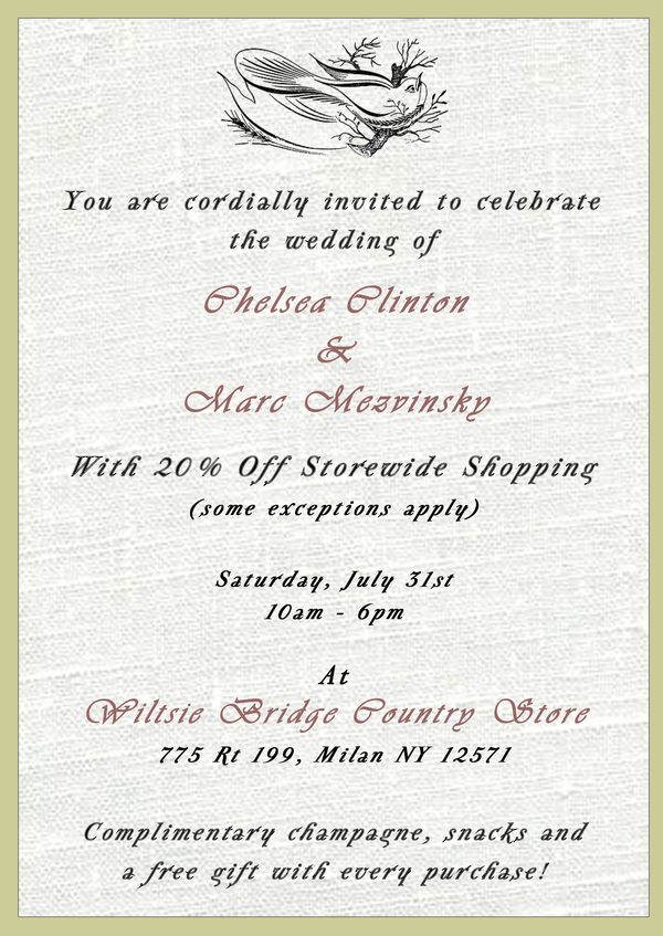 Not Invited To Chelsea Clintons Wedding Shop Our 20 Off SALE