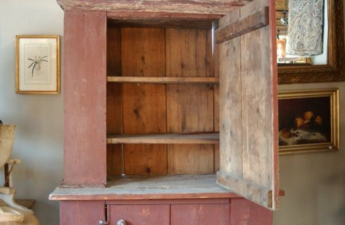 Beautiful 1850's cupboard, great original painted finish. Large amount of  storage space and display, cupboard comes apart in two sections for easy ... - Antique Primitive 1850's Red Painted Two Part Farmhouse Cupboard