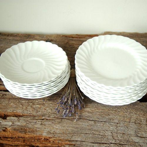 Very best English Ironstone - Scalloped Plates - White Regency - Johnson  DU04