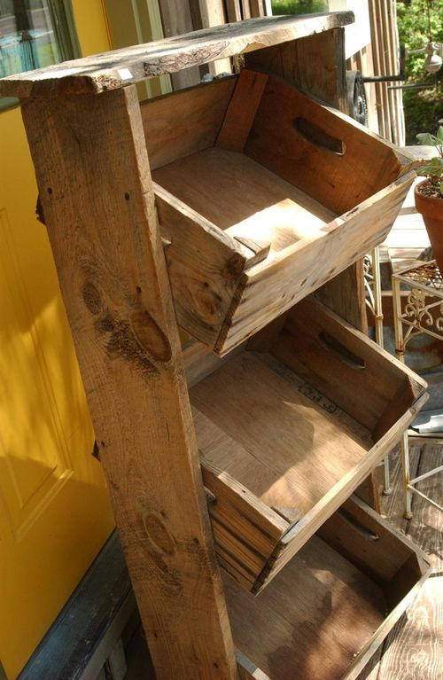Vintage farmhouse wooden apple crate farm market display ...