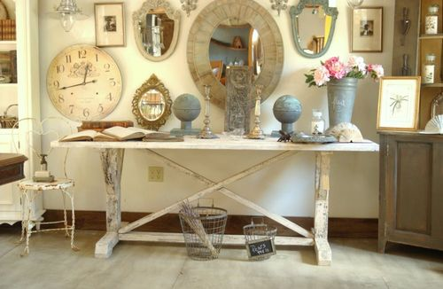 large new distressed shabby chic trestle style farm table 80 long by. Black Bedroom Furniture Sets. Home Design Ideas