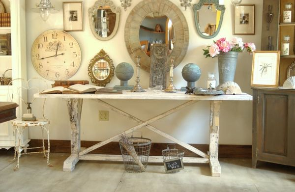 New large white distressed farm harvest trestle table - Shabby chic decor for sale ...