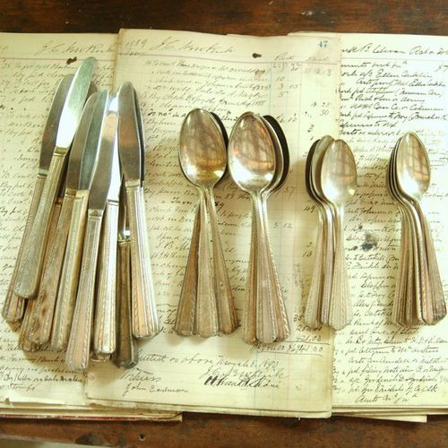 Hotel Collection Plates: Vintage Silver Plate Flatware Serving Set Collection Hotel