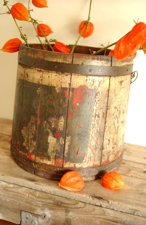 Antique Primitive Firkin Bail Handled Bucket With Old