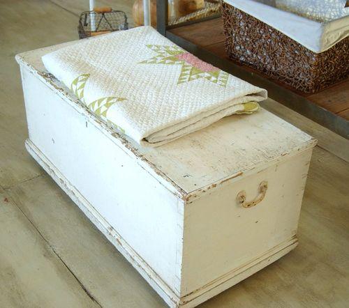 large antique primitive shabby chic white blanket box, coffee