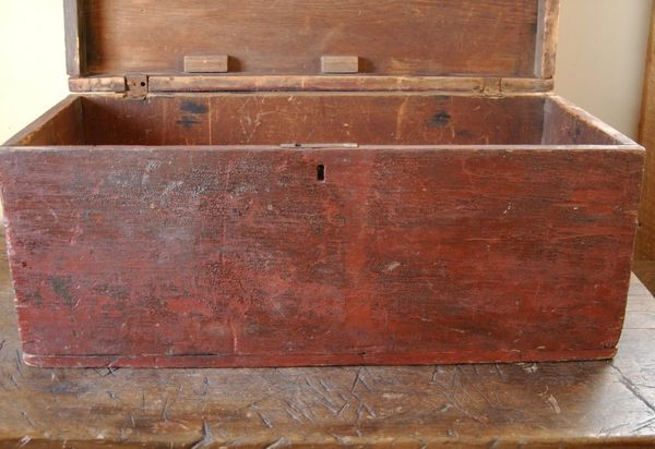 1800s Primitive Red And Black Painted Seamans Chest