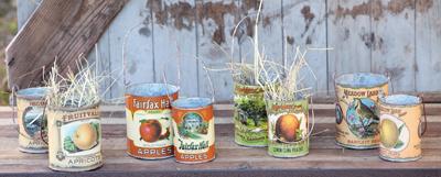Vintage fruit cans
