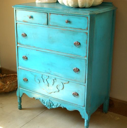 Vaisselier Shabby Chic: Antique Shabby Chic Painted Dresser Turquoise Blue