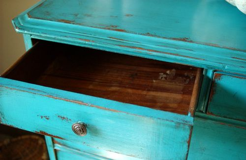 DSC_8497 - Antique Shabby Chic Painted Dresser Turquoise Blue Distressed