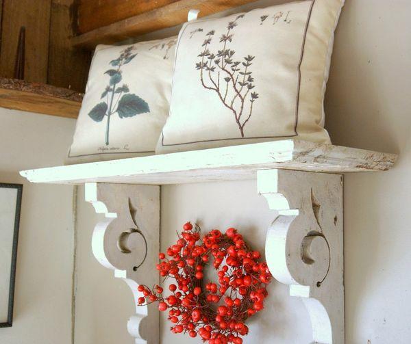Antique Shabby Chic White Wood Hanging Wall Shelf Mantel