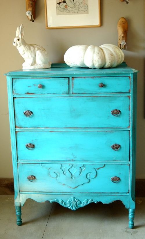 Antique Shabby Chic Painted Dresser Turquoise Blue Distressed Paint Wiltsie Bridge Country Store