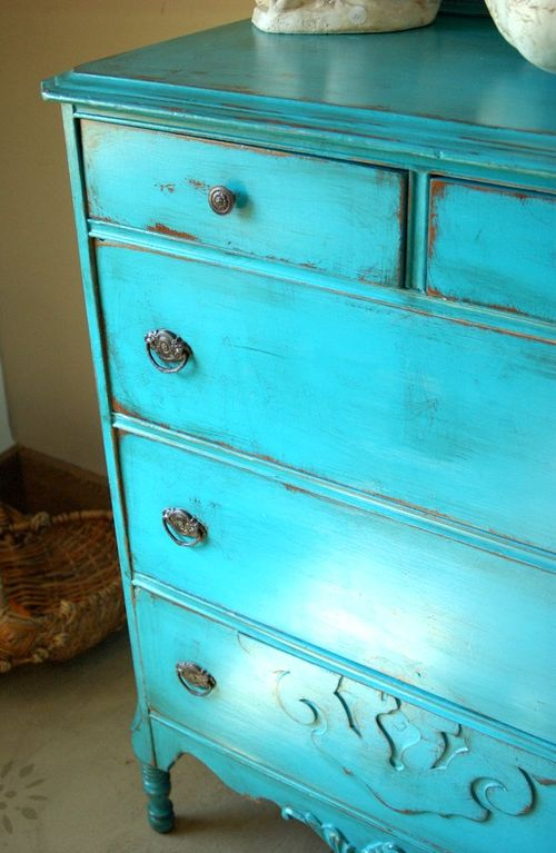 Beautiful Antique Dresser All Original Hardware Has Been Painted A Stunning Turquoise Blue And Nicely Distressed Is Thick Wood