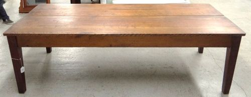 Attractive Large Beautiful Primitive Vintage Pine Harvest Farm Table. Sturdy, Well  Made, In Excellent Condition, Deep Rich Patina. Square Tapered Leg(s)  Shaker Style.