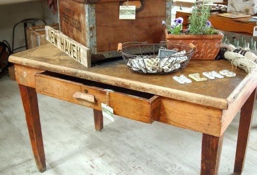 Antique Rustic Farmhouse Table Desk